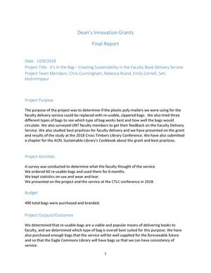 It's in the Bag--Creating Sustainability in the Faculty Book Delivery Service: Final Report
