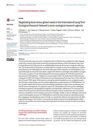 Negotiating local versus global needs in the International Long Term Ecological Research Network's socio-ecological research agenda