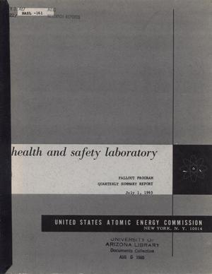 Primary view of object titled 'Health and Safety Laboratory Fallout Program Quarterly Summary Report: March 1, 1965 - June 1, 1965'.