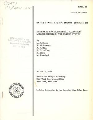 Primary view of object titled 'External Environmental Radiation Measurements in the United States'.