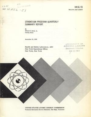Primary view of object titled 'Strontium Program: Quarterly Summary Report, November 19, 1958'.