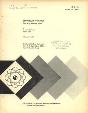 Primary view of object titled 'Strontium Program: Quarterly Summary Report, February 24, 1959'.