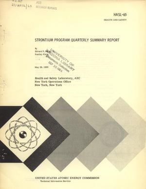 Primary view of object titled 'Strontium Program: Quarterly Summary Report, May 29, 1959'.