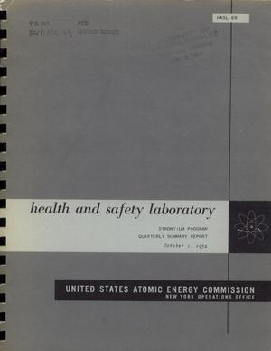 Primary view of object titled 'Strontium Program: Quarterly Summary Report, October 1, 1959'.
