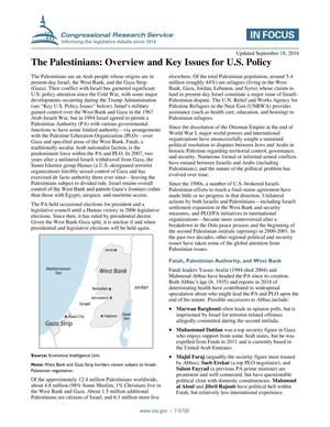 Primary view of object titled 'The Palestinians: Overview and Key Issues for U.S. Policy'.