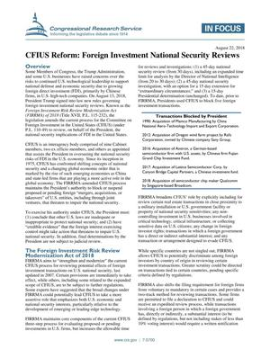 Primary view of object titled 'CFIUS Reform: Foreign Investment National Security Reviews'.