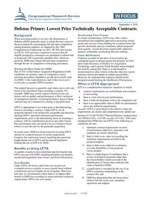 Primary view of object titled 'Defense Primer: Lowest Price Technically Acceptable Contracts'.