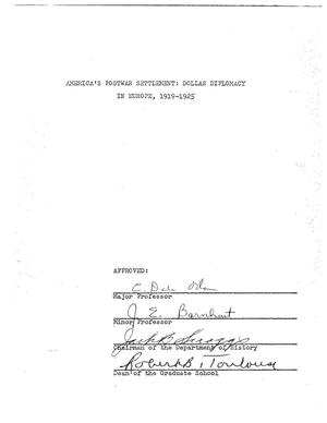 Primary view of object titled 'America's Postwar Settlement : Dollar Diplomacy in Europe, 1919-1925'.