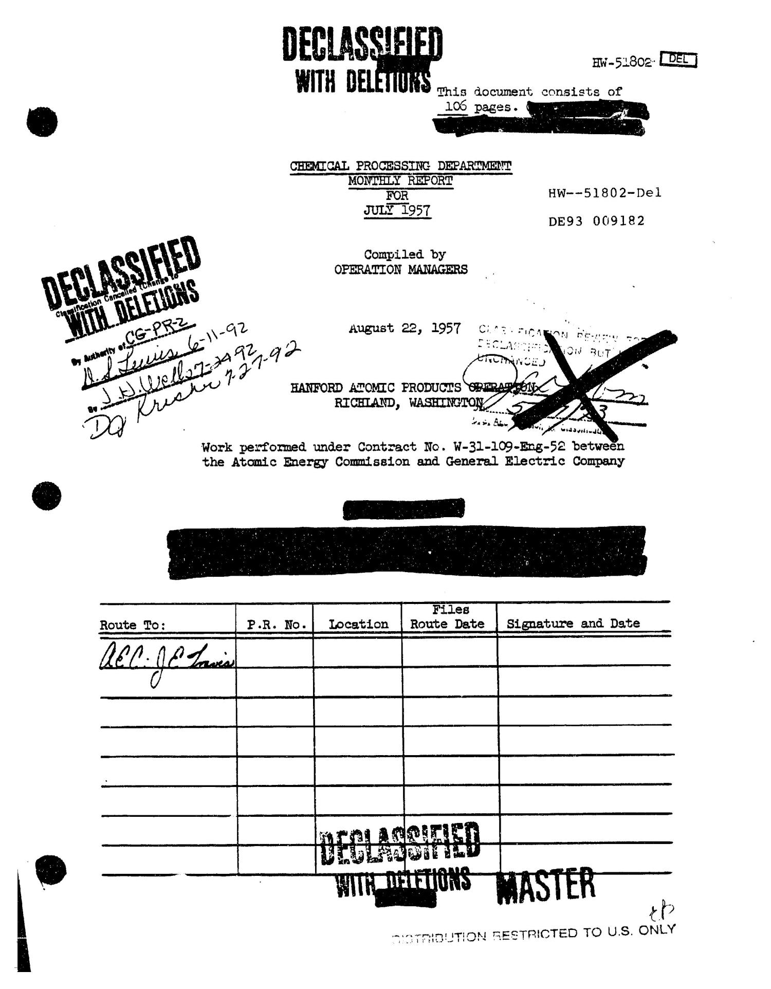 Chemical Processing Department Monthly Report: July 1957                                                                                                      [Sequence #]: 1 of 107