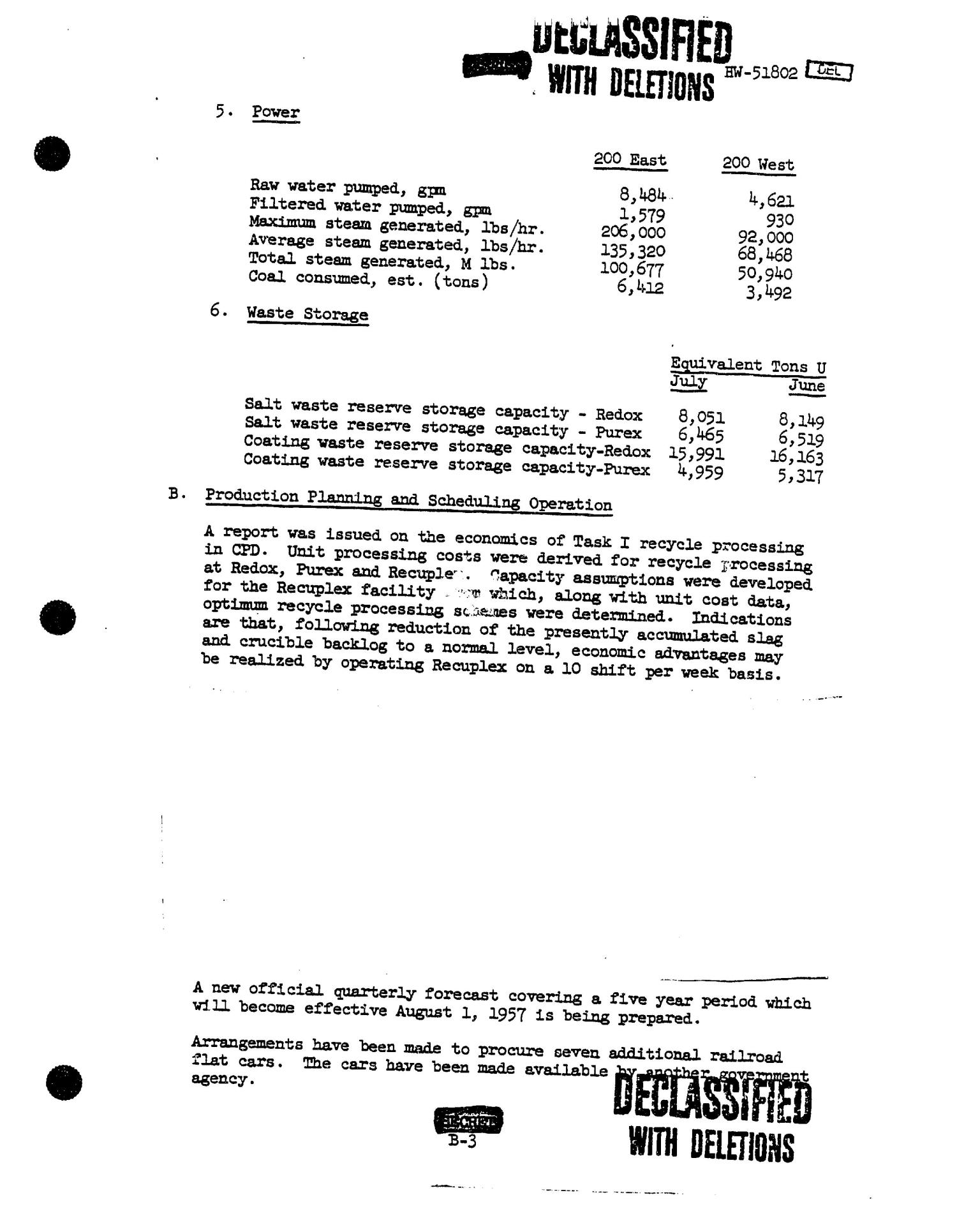 Chemical Processing Department Monthly Report: July 1957                                                                                                      [Sequence #]: 12 of 107