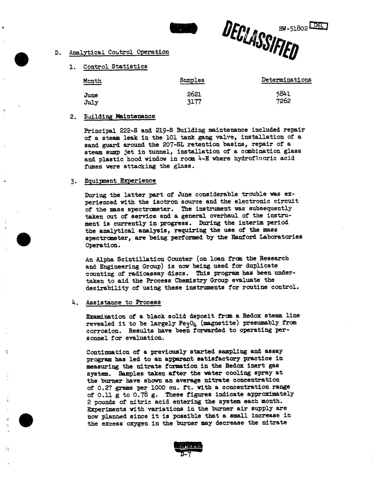 Chemical Processing Department Monthly Report: July 1957                                                                                                      [Sequence #]: 28 of 107