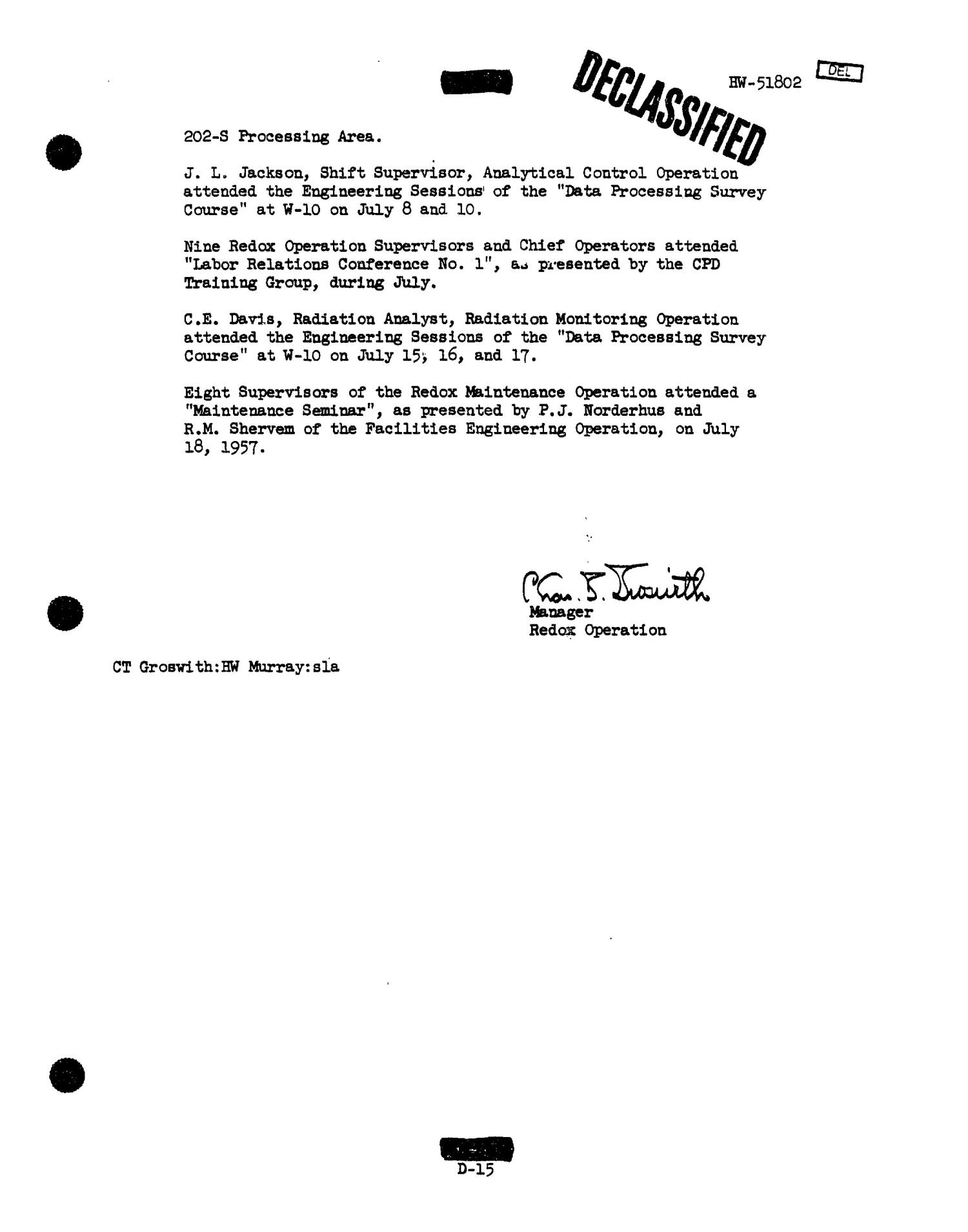 Chemical Processing Department Monthly Report: July 1957                                                                                                      [Sequence #]: 36 of 107