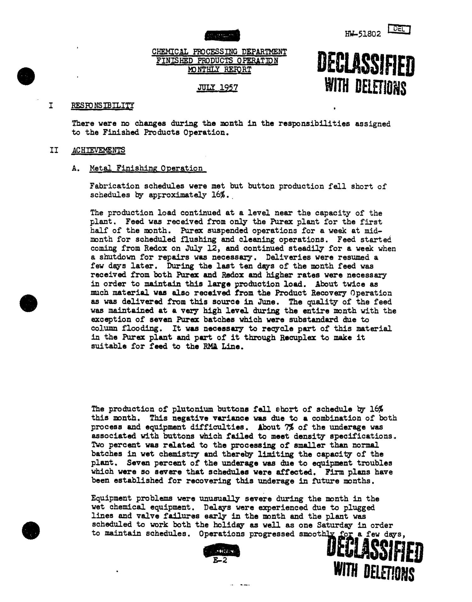 Chemical Processing Department Monthly Report: July 1957                                                                                                      [Sequence #]: 37 of 107
