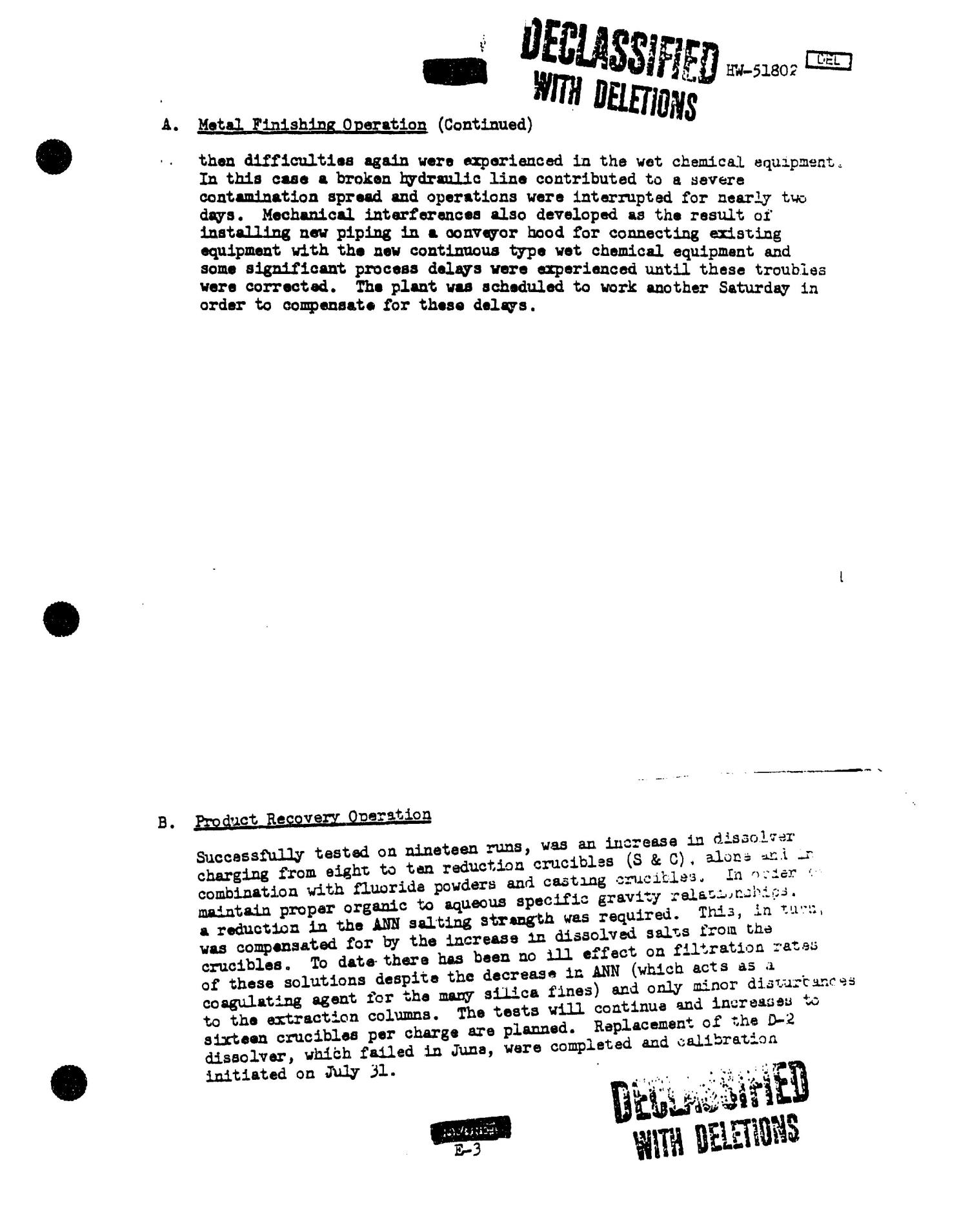 Chemical Processing Department Monthly Report: July 1957                                                                                                      [Sequence #]: 38 of 107
