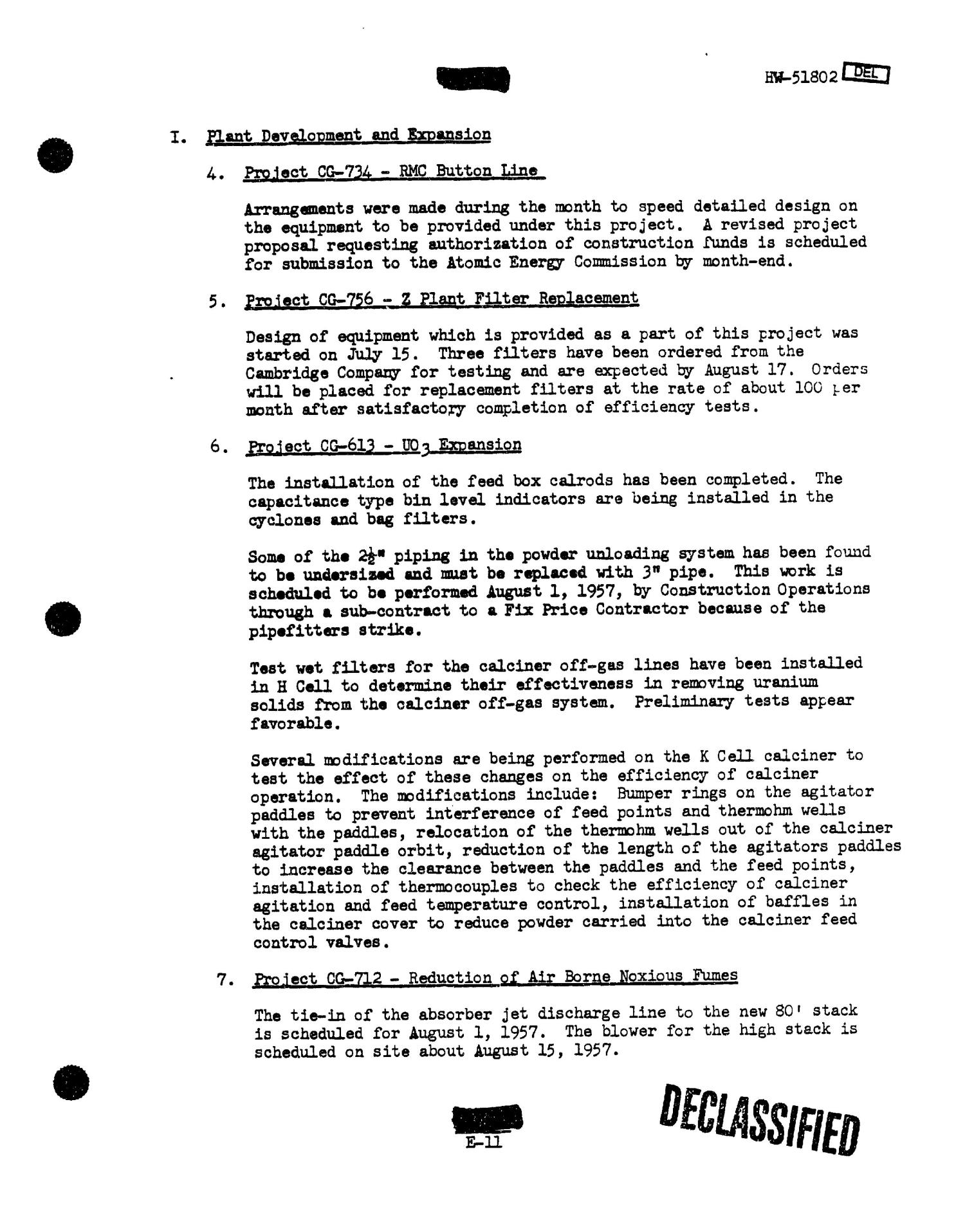 Chemical Processing Department Monthly Report: July 1957                                                                                                      [Sequence #]: 46 of 107