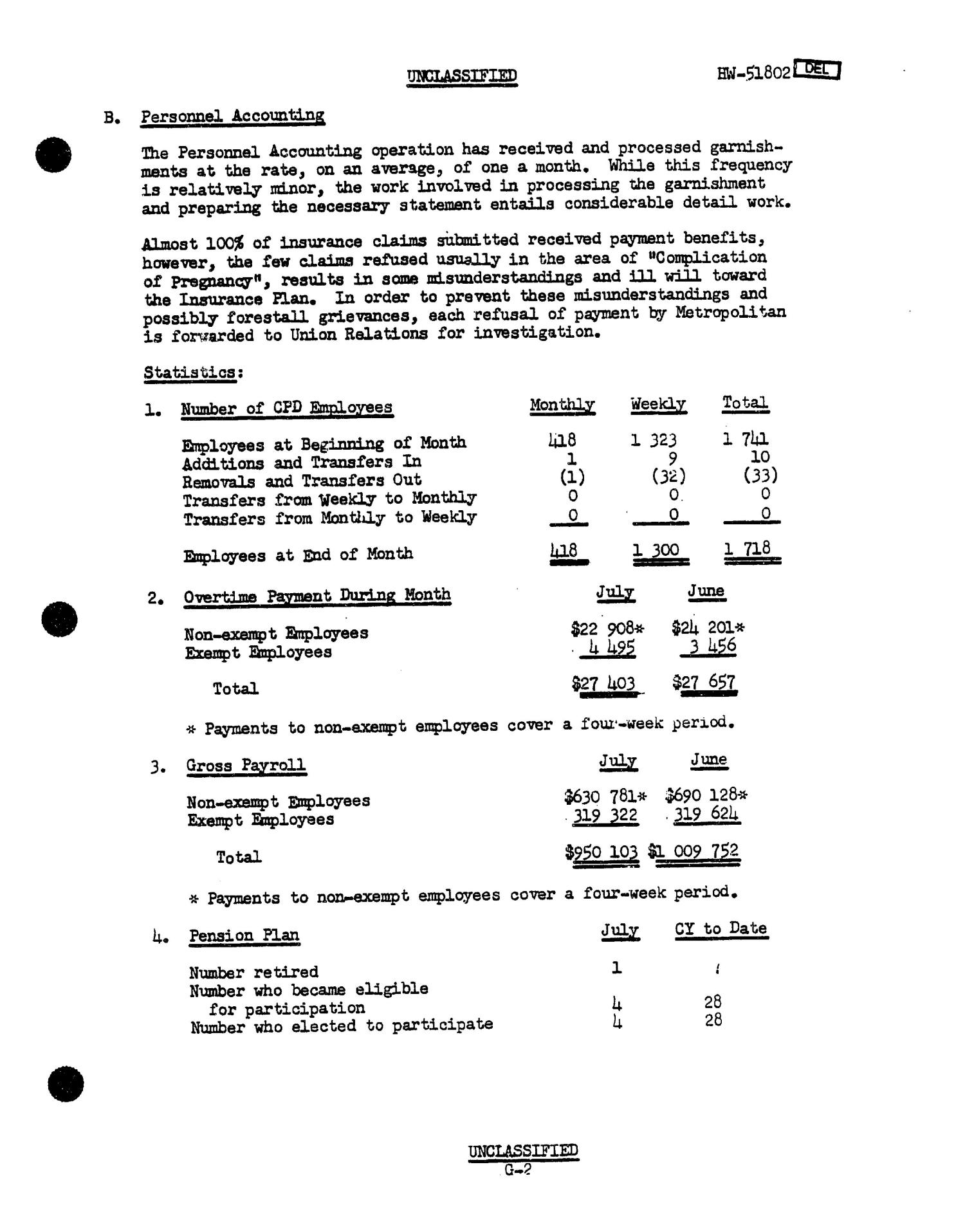 Chemical Processing Department Monthly Report: July 1957                                                                                                      [Sequence #]: 53 of 107
