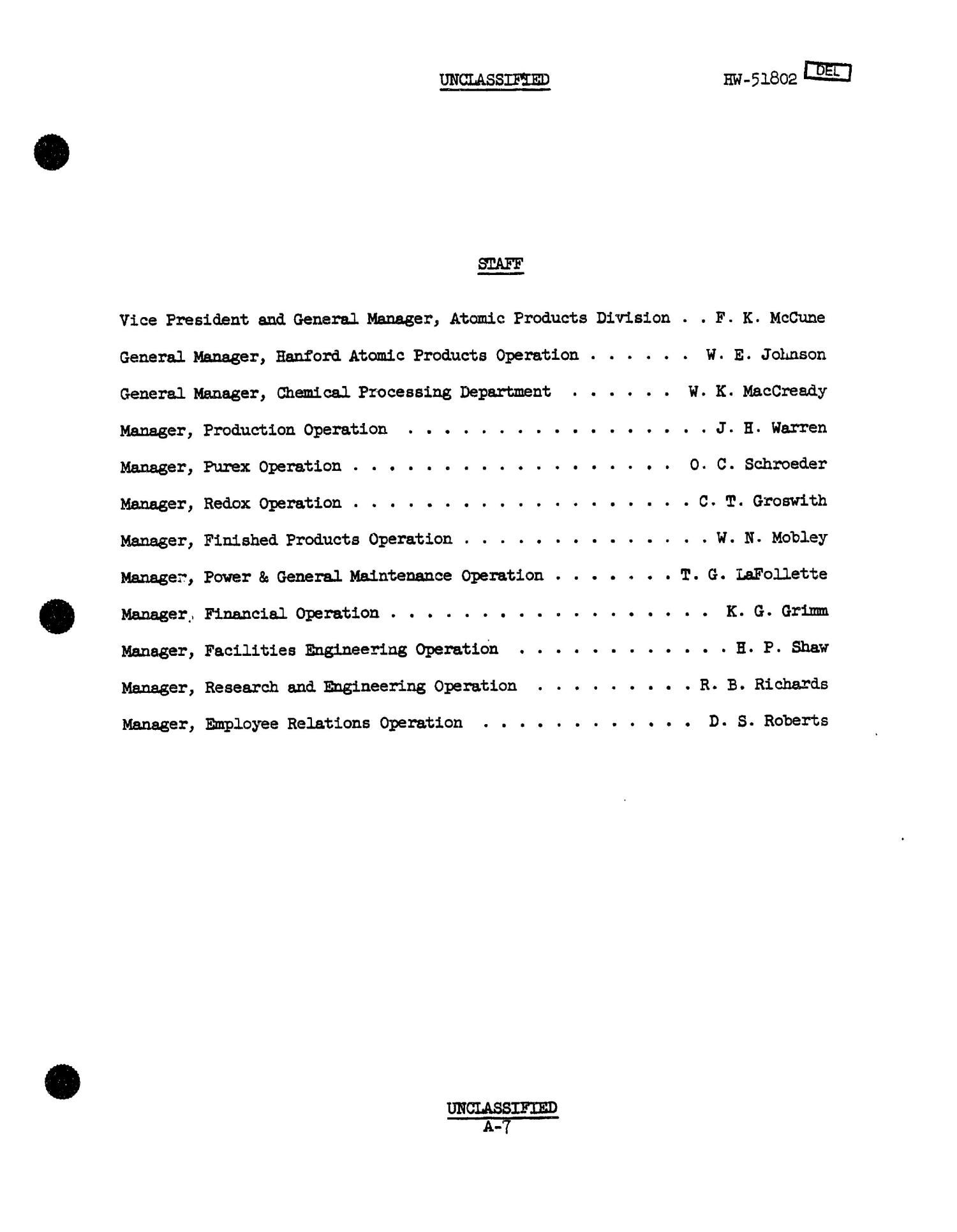 Chemical Processing Department Monthly Report: July 1957                                                                                                      [Sequence #]: 7 of 107