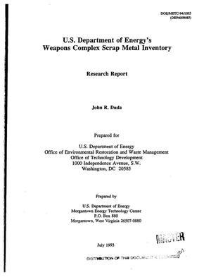 US Department of Energy`s weapons complex scrap metal