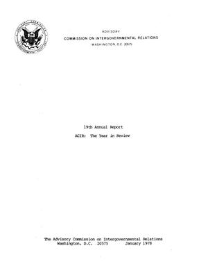 Primary view of object titled '19th Annual Report'.