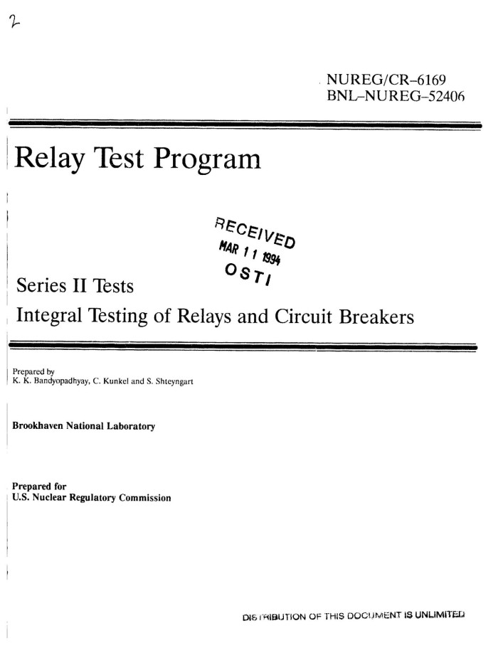 Relay test program  Series 2 tests: Integral testing of relays and