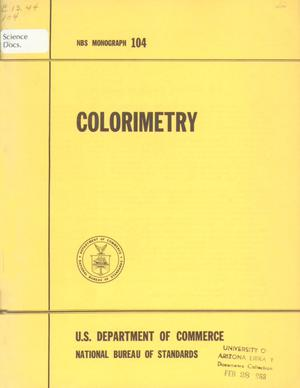 Primary view of object titled 'Colorimetry'.