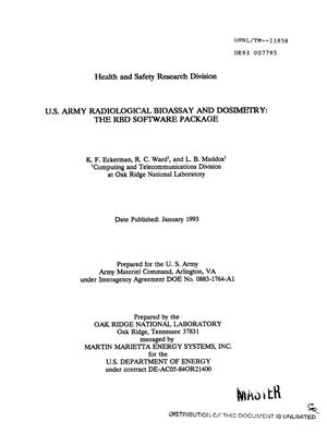 US Army Radiological Bioassay and Dosimetry: The RBD software package