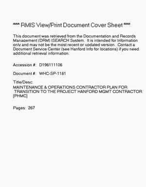 Maintenance and operations contractor plan for transition to the project Hanford management contract (PHMC)