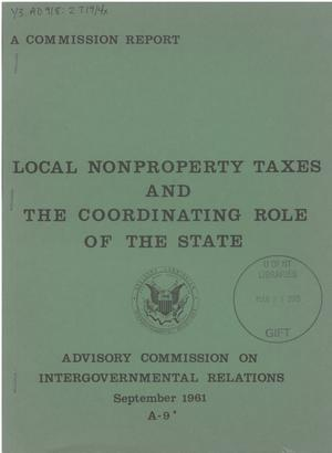 Primary view of object titled 'Local nonproperty taxes and the coordinating role of the State'.