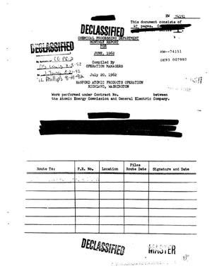Primary view of object titled 'Chemical Processing Department Monthly Report: June 1962'.