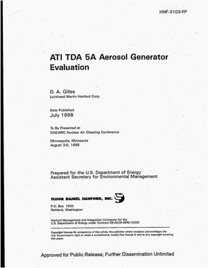Primary view of object titled 'ATI TDA 5A aerosol generator evaluation'.