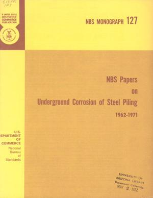 Primary view of NBS Papers on Underground Corrosion of Steel Piling, 1962-1971