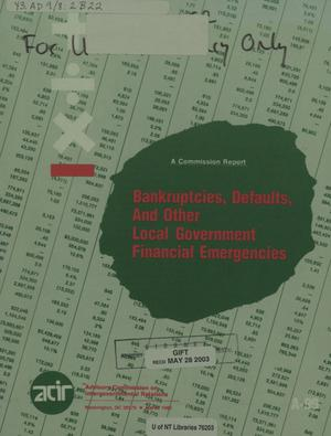 Primary view of object titled 'Bankruptcies, defaults, and other local government financial emergencies'.