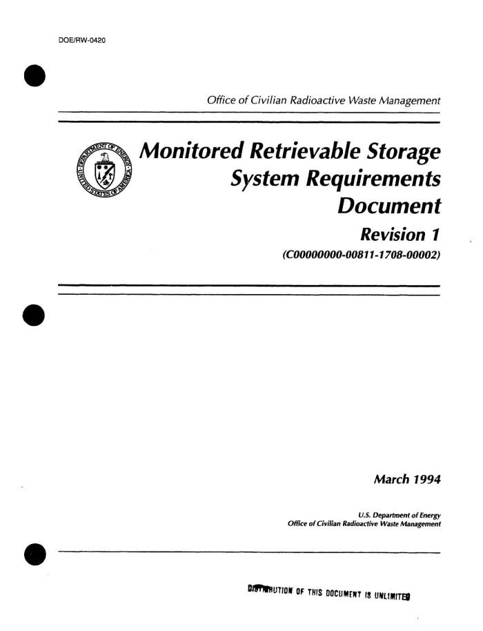 Monitored Retrievable Storage System Requirements Document  Revision