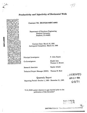 Primary view of object titled 'Productivity and injectivity of horizontal wells. Quarterly report, October 1--December 31, 1993'.