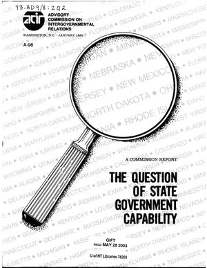 Primary view of object titled 'The question of state government capability'.