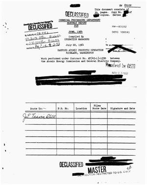 Primary view of object titled 'Chemical Processing Department Monthly Report: June 1964'.