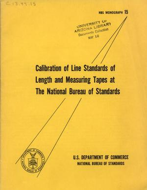 Primary view of object titled 'Calibration of Line Standards of Length and Measuring Tapes at the National Bureau of Standards'.