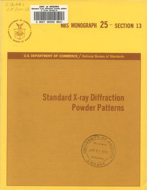 Primary view of object titled 'Standard X-ray Diffraction Powder Patterns: Section 13. Data for 58 substances'.