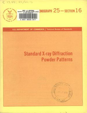 Primary view of object titled 'Standard X-ray Diffraction Powder Patterns : Section 16. Data for 86 Substances'.