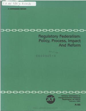 Primary view of object titled 'Regulatory federalism : policy, process, impact and reform'.