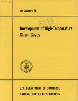 Primary view of object titled 'Development of High-Temperature Strain Gages'.