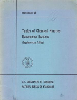 Primary view of object titled 'Tables of Chemical Kinetics : Homogeneous Reactions (Supplementary Tables)'.