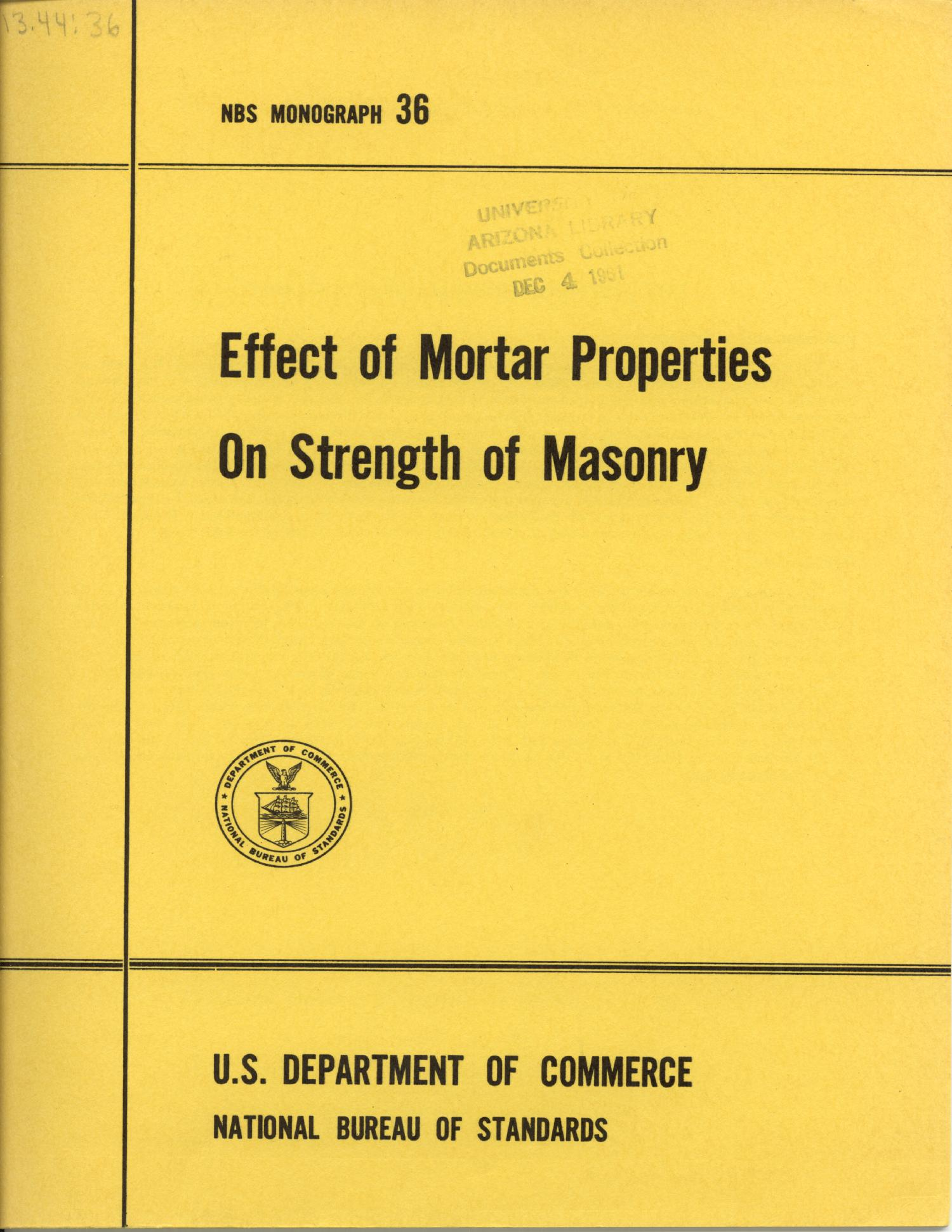 Effect of Mortar Properties on Strength of Masonry                                                                                                      Front Cover
