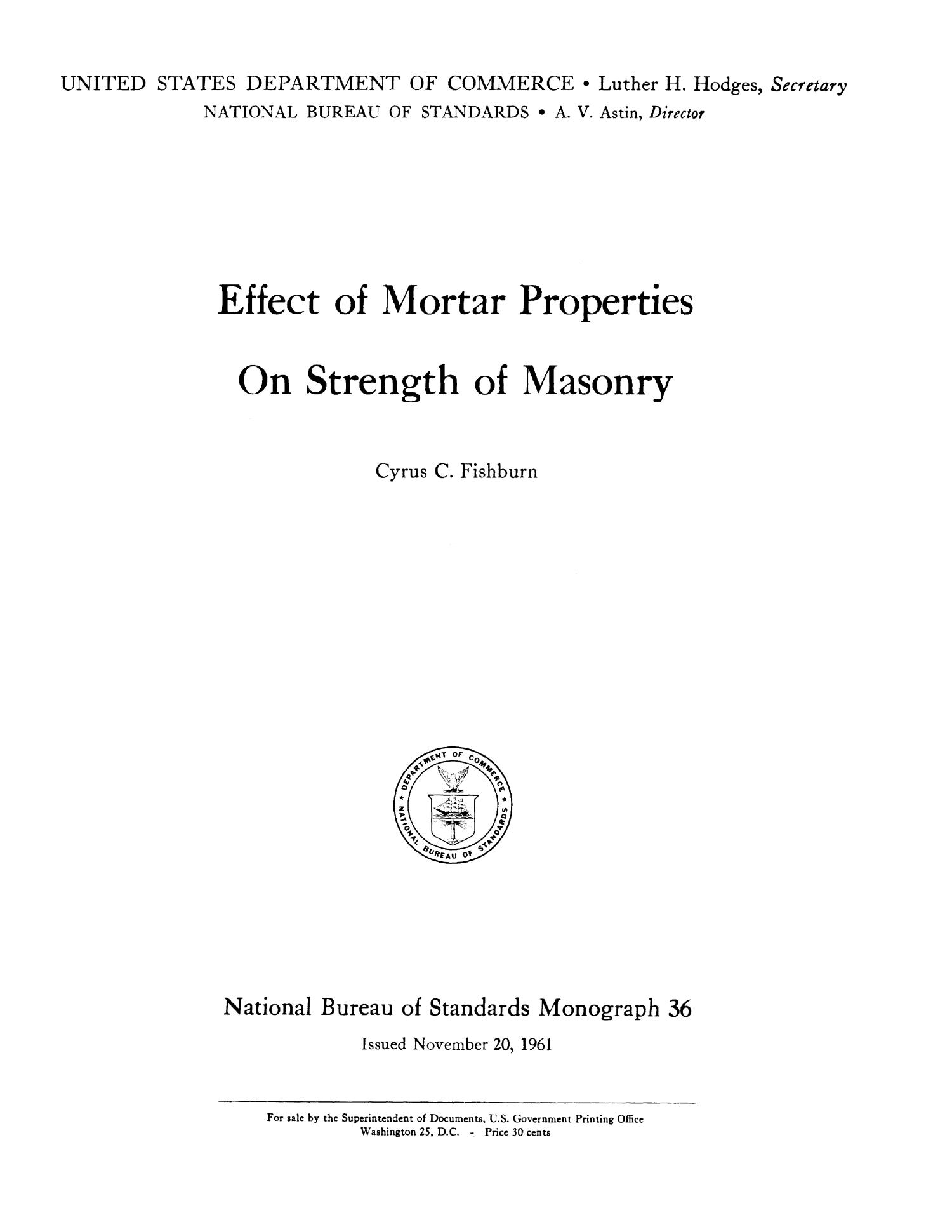 Effect of Mortar Properties on Strength of Masonry                                                                                                      i