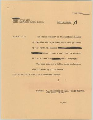 Primary view of [News Script: Martin report]