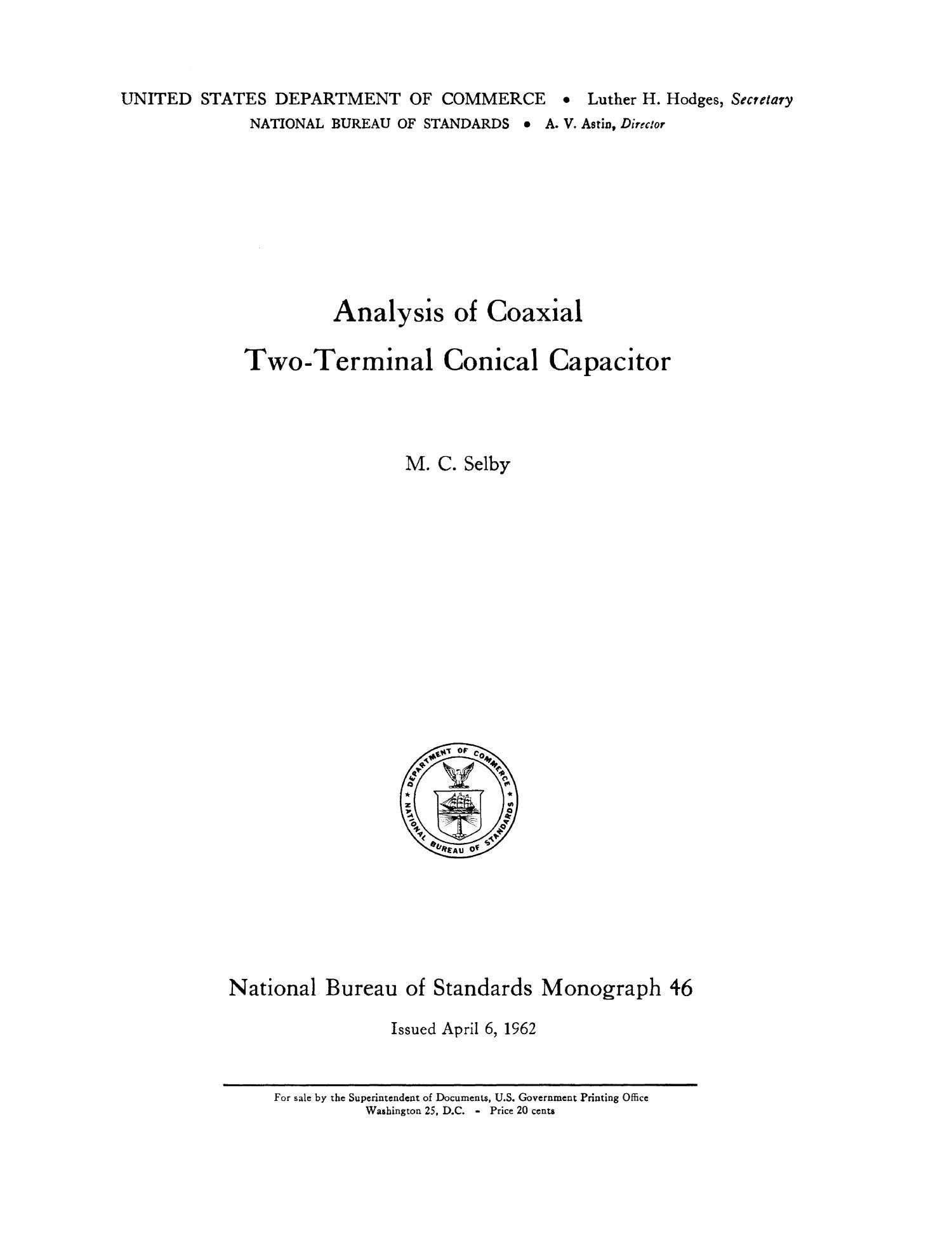 Analysis of Coaxial Two-Terminal Conical Capacitor                                                                                                      i