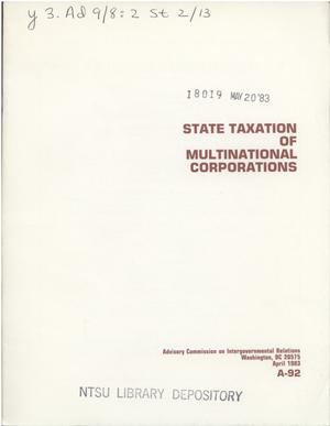 Primary view of object titled 'State taxation of multinational corporations'.