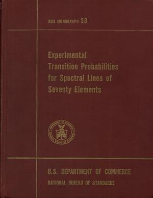 Primary view of object titled 'Experimental Transition Probabilities for Spectral Lines of Seventy Elements: Derived from the NBS Tables of Spectral-line Intensities'.