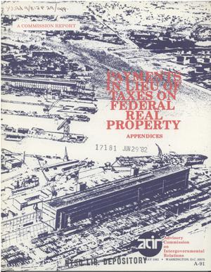 Primary view of object titled 'Payments in lieu of taxes on federal real property, appendices'.