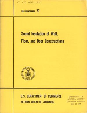 Primary view of object titled 'Sound Insulation of Wall, Floor, and Door Constructions'.